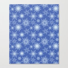 Christmas pattern with snowflakes on blue. Canvas Print