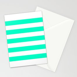Mint White Stripes Stationery Cards