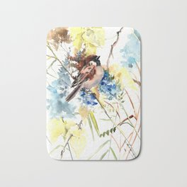 Sparrow in the Field Bath Mat