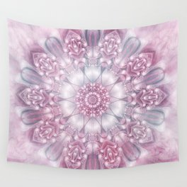 Dreams Mandala in Pink, Grey, Purple and White Wall Tapestry