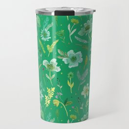 Verdant Flowers on Emerald Background Travel Mug