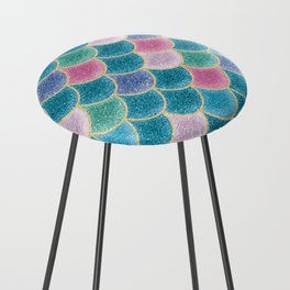 Glittery Mermaid Scales Counter Stool