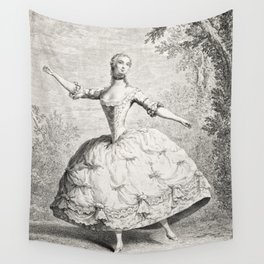 The Dancers, 18th century French ballet woman, black white drawing Wall Tapestry