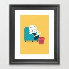:::Reading on sofa::: Framed Art Print
