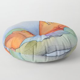 Warm Walrus Contemplating Cool Wishes Floor Pillow