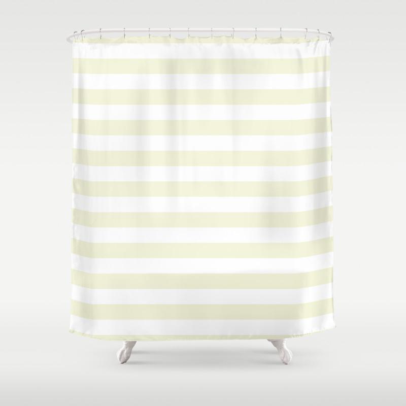 Ivory Cream And White Horizontal Beach Hut Stripes Shower Curtain