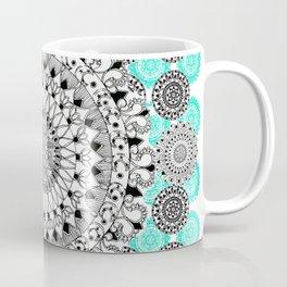 Black and Teal Patterned Mandalas Coffee Mug