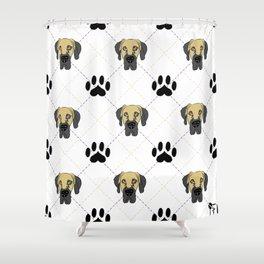 Faun Great Dane Paw Print Pattern Shower Curtain