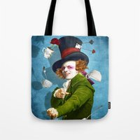 mad hatter Tote Bags featuring Mad Hatter by Diogo Verissimo