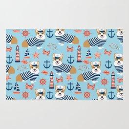 Corgi nautical sailor dog cute pet costume portrait welsh corgis Rug