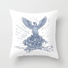 Eagle and Dragon Mountains Drawing Throw Pillow