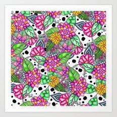 Modern bright pink floral bouquet black dots Art Print