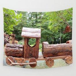 Wooden train   train en bois Wall Tapestry