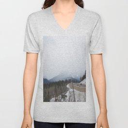 Rocky Mountains roadside lookout Unisex V-Neck