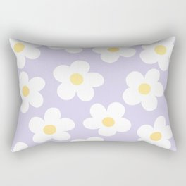 Lavender 70's Retro Flower Power Rectangular Pillow