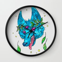 Space Coyote with Leaf Crown Wall Clock