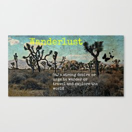 Wanderlust In The Wild Travel Quote Canvas Print
