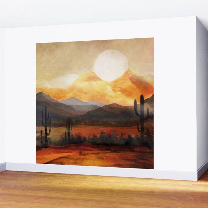 Desert in the Golden Sun Glow Wall Mural