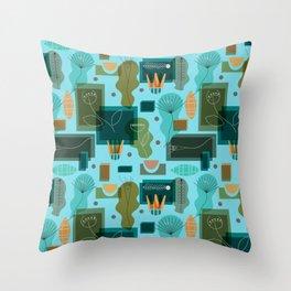 Mid Century Modern Garden Throw Pillow