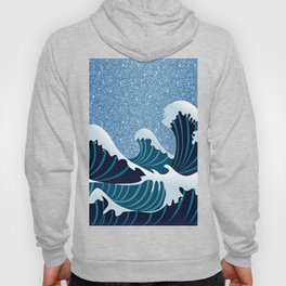 Abstract white navy blue glitter japanese waves Hoody