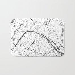 Paris France Minimal Street Map - Gray and White Bath Mat