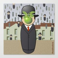 magritte Canvas Prints featuring Kokeshi Magritte by Pendientera