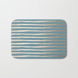 Abstract Stripes Gold Tropical Ocean Blue Bath Mat