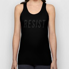 RESIST 1.0 - Black on Teal #resistance Unisex Tank Top
