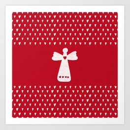 Christmas Angel with hearts on red Art Print