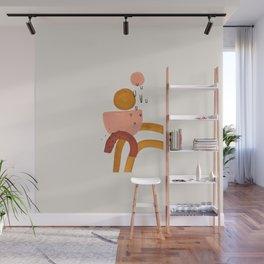 'Lollipop' Earth Tones Neural Warm Colors Fun Space Shapes Yellow Ochre Tan Brown by Ejaaz Haniff Wall Mural