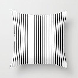 Black Pinstripe On White Pattern Throw Pillow