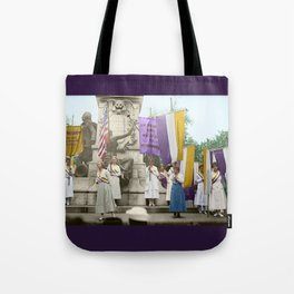 Lafayette, We Are Here! Suffragists protest across from the White House in 1918 Tote Bag