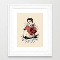 frida kahlo Framed Art Prints featuring Frida Kahlo by Juan Rodriguez Cuberes