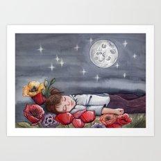 Sofía dreaming with Peppa Pig Art Print
