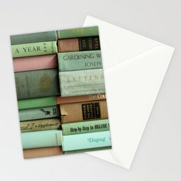 pastel book stacks Stationery Cards