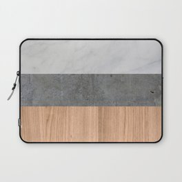 Carrara Marble, Concrete, and Teak Wood Abstract Laptop Sleeve