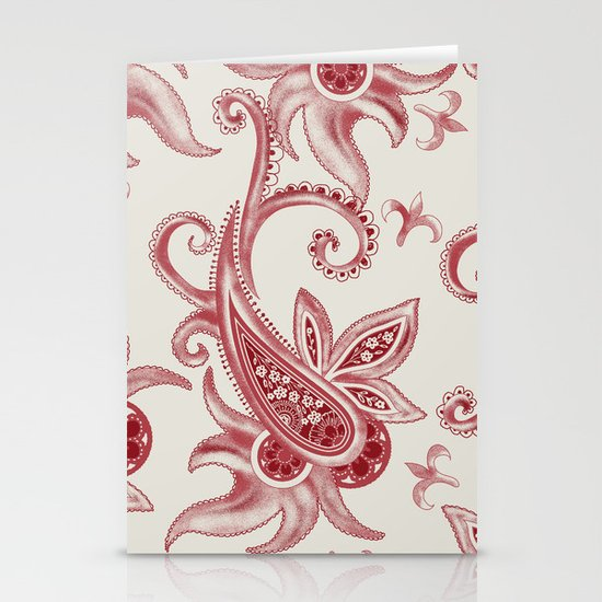 Paisley: Vintage RED  Stationery Cards