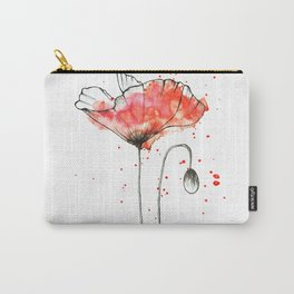 watercolor poppy // watercolor stains // watercolor splashes // minimalism Carry-All Pouch