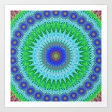 Happy star mandala Art Print