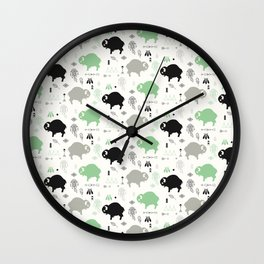 Seamless pattern with cute baby buffaloes and native American symbols, white Wall Clock
