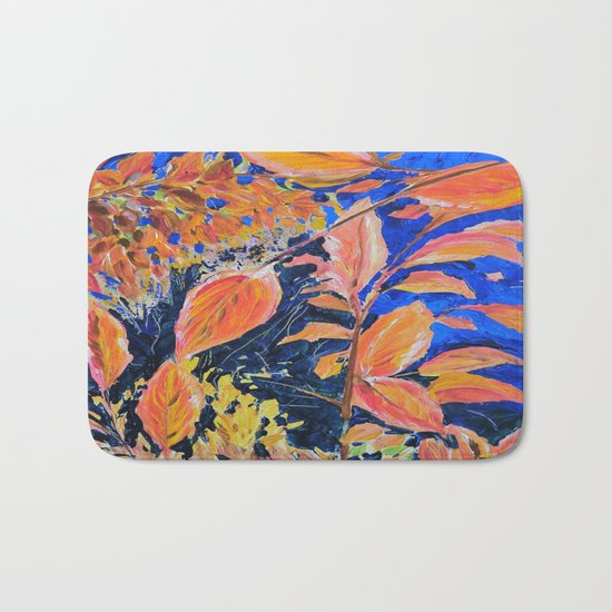 colored autumnleaves under the blue sky Bath Mat