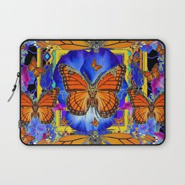 ABSTRACT ORANGE MONARCH BUTTERFLIES & BLUE FLORAL BLACK Laptop Sleeve