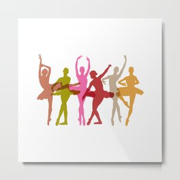 Colorful Dancing Ballerinas Metal Print