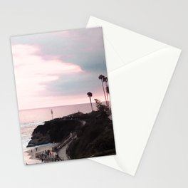 Laguna Beach | LoFi Relaxed Aesthetic Pinkish Sunset Palm Trees Hippie Ocean Horizon Waves Stationery Cards