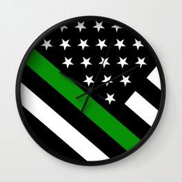 The Thin Green Line Flag Wall Clock