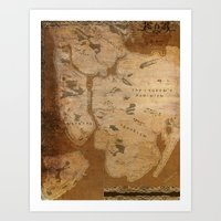 westeros Art Prints featuring Fantasy Map of New York: Gritty Parchment by Midgard Maps