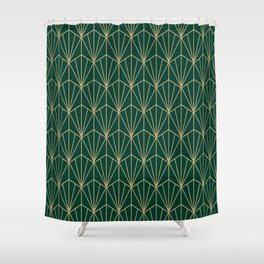 Art Deco Vector in Green and Gold Shower Curtain