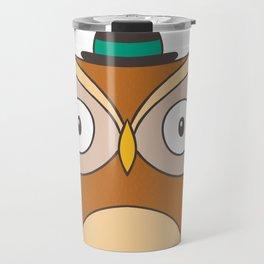 Cartoon Abstract Owl Travel Mug