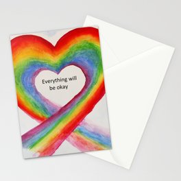 Rainbow Heart Everything will be Okay Stationery Cards