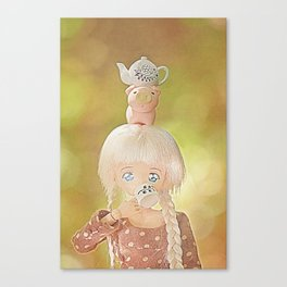 Drinking tea with with piggie and teapot on head Canvas Print